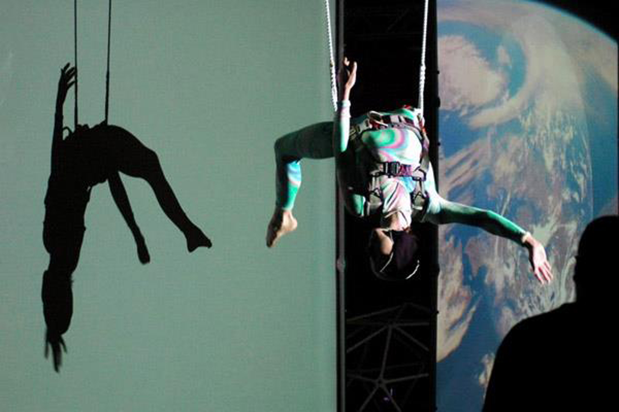 Image of a MorrisonDancers suspended from the air at NASA